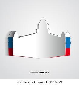 Paper Bratislava Castle - Slovakia - card vector Illustration