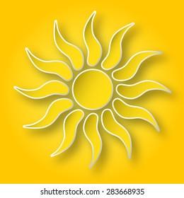 Paper bright yellow shining sun on the sky.