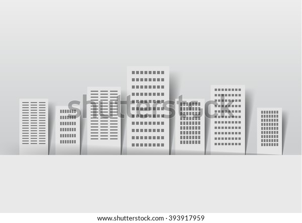 Paper Buildings On Light Background Stickers Stock Vector