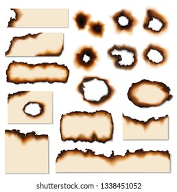 Paper burnt holes vector realistic set. Paper pages and sheet scraps with fire burned or scorched edges, sides and holes
