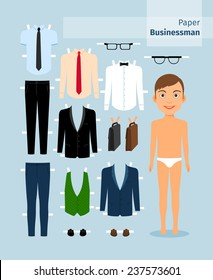Paper businessman. Suit and shirt, glasses and briefcase. Cute dress up paper doll. Body template. Business collection.