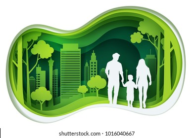 Paper carve to family and park on green town shape, paper art concept and ecology idea, vector art and illustration.