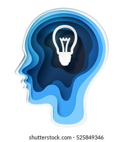 Paper carve to human head and bulb shape on white background, paper art concept and business idea, vector art and illustration.