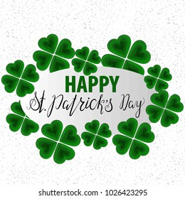 Paper carving art, paper cut shapes with silhouette of shamrock with lettering inscription Happy St.Patricks Day. Origami concept, vector art. Modern paper cut design elements, green.