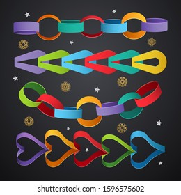 Paper chains. Colored decoration links for christmas event vector templates