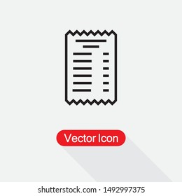 Paper Check Icon Receipt Icon Vector Illustration Eps10