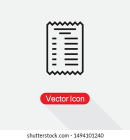 Paper Check Receipt Icon Vector Illustration On Light Gray Background Eps10