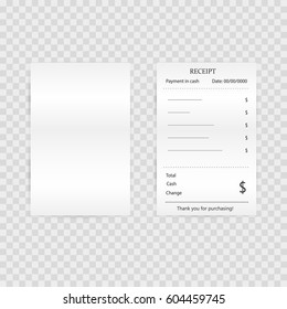 Paper check, reciepts and financial-check isolated. isolated invoice for payment vector illustration