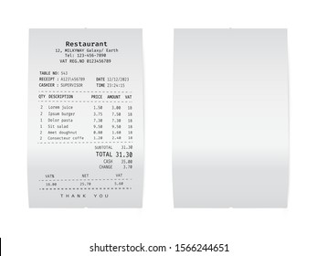 Paper check from shop. Template of a curled supermarket receipt