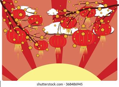 Paper chinese lantern on branch of blooming sakura.