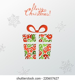 Paper Christmas background. Festive colourful gift. Vector template. There is place for your text.