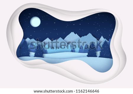 eb6f6df08bfbd1 Paper Christmas Postcard Winter Landscape Pine Stock Vector (Royalty ...