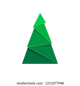 Paper Christmas tree. Papercraft green fir sign of New Year.