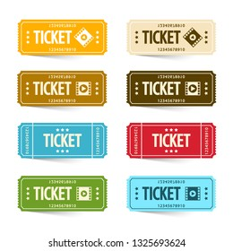 Paper Cinema Tickets Set, Vector Concert or Festival Ticket Symbols. Admit One Movie Icon Set.