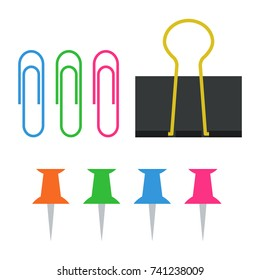 Paper Clip, Binder Clip and Push Pin Vector for School and Business