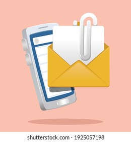 paper clip and envelopes in front of smartphone. email attachment concept vector illustration
