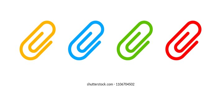 Paper clip icon. Vector paper clip icon. Attachment icon. Email attachment, attached file. Color easy to edit. Transparent background.