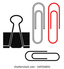 Paper clip. Isolated icons on white background. Vector illustration
