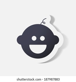 Paper clipped sticker: baby face, boy. Isolated illustration icon