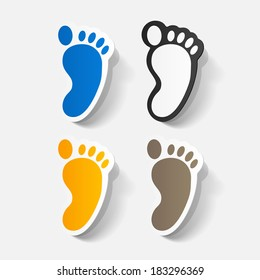 Paper clipped sticker: Footprint symbol. Isolated illustration icon