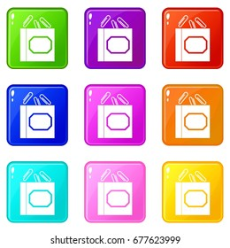 Paper clips box icons of 9 color set isolated vector illustration