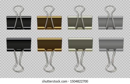 Paper clips set. Black white, gold, gray realistic binder, paper holder isolated on white background. Vector isolated graphic drawing steel stationery