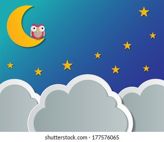 paper cloud, moon, star and owl. night scene background. vector.