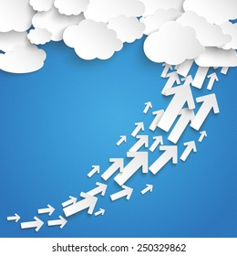 Paper clouds with arrows chart on the blue background. Eps 10 vector file.
