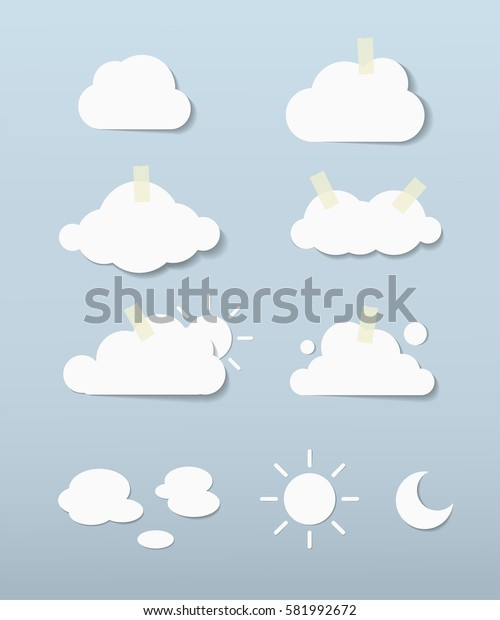 paper clouds in blue sky vector eps 10