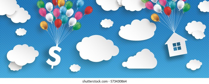 Paper clouds and hanging dollar and house  with colored balloons on the blue background. Eps 10 vector file.