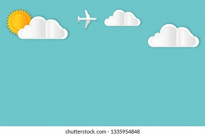 From paper clouds and rain. Vector picture of clouds and rain and sun.