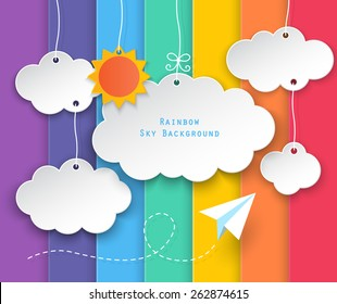 paper clouds, sun hanging and planes flying in summer with rainbow sky background. vector.