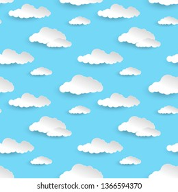Paper clouds. White fluffy clouds with shadows. Cartoon Paper Background, Illustration for Design.  Template for wedding, banner, poster, advertisement.   seamless pattern. Vector  illustration .