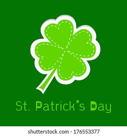 Paper clover leaf. Dash line. Happy St. Patricks day. Vector illustration.
