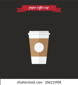 Paper coffee cup. Flat style design - vector