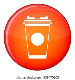 Paper coffee cup icon in red circle isolated on white background vector illustration