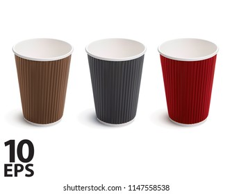 Paper coffee cup. Set. Vector 3d illustration