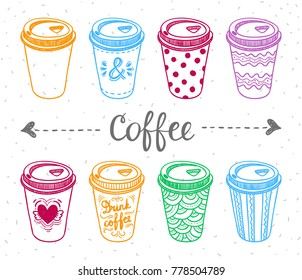 Paper coffee cups illustration set. Take away coffee cups. Coffee to go cute graphics template