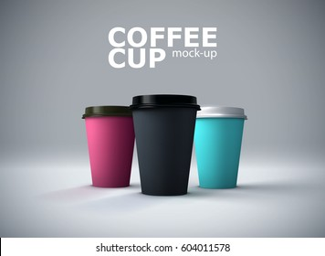 Paper coffee cups mock-up. Vector realistic 3d illustration. Beverage package mockup design for branding
