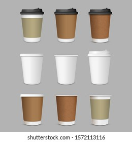 Paper Coffee Cups, vector set realistic 3d style. Collection Coffee Cup Mockup template for brand identity design. Vector template of cardboard coffee cup mockup