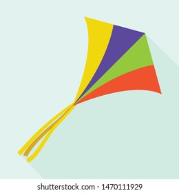 Paper colorful kite icon. Flat illustration of paper colorful kite vector icon for web design