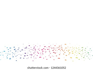 Paper confetti, spectrum rainbow on the floor, surprise party celebrate vector abstract background