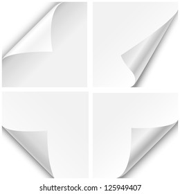 Paper Corner Folds - Set of four paper corner folds isolated on white background.