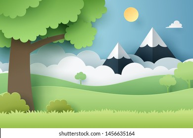 Paper craft of forest, vector art and illustration.