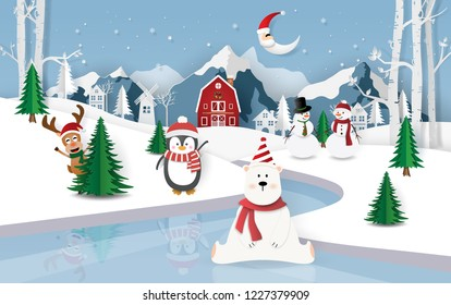Paper, Craft style of Christmas party at ice floor in town, Merry Christmas and Happy New Year