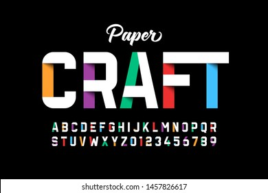 Paper craft style font design, paper folding alphabet letters and numbers vector illustration