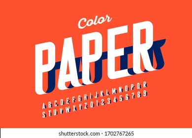 Paper craft style font design, alphabet letters and numbers vector illustration