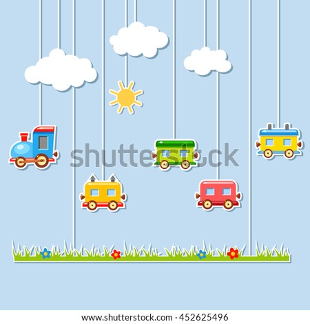 Paper Craft Theater Baby Cartoon Train Stock Vector Royalty Free