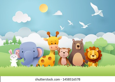 Paper craft of zoo animals and forest, vector art and illustration.