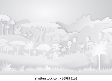 Paper Crafted Cutout World. Concept of tropical rain forest Jungle. Vector illustration.